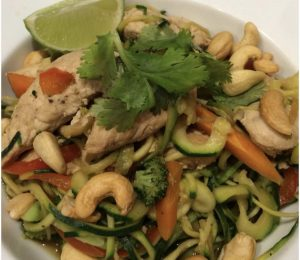 Bowl of Chicken Curry with. Zucchini Noodles